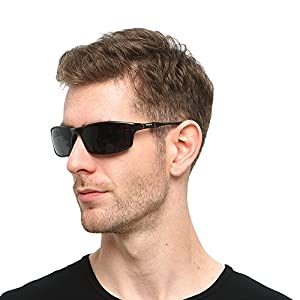 Soxick Men's Polarized Sunglasses UV400 Retro Unbreakable Metal Driving Sunglasses