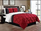 Black and White King Size Bedding Sets 3 Piece (California) CAL KING size Burgundy Red / Black / White Double-Needle Stitch Puckered Pinch Pleat All-Season Bedding-Goose Down Alternative Embroidered Comforter Set