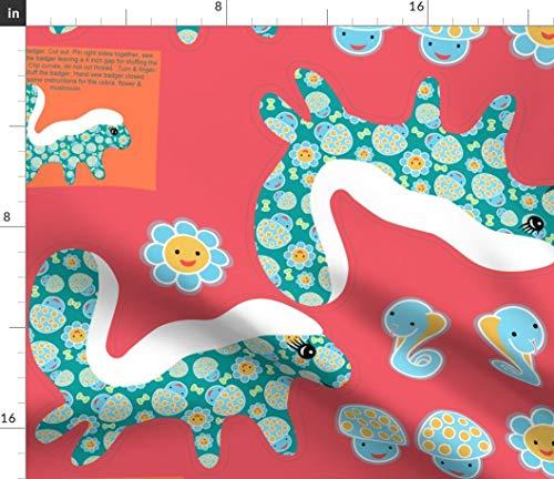 Spoonflower Plushie Fabric - Stuffed Animal Toy Honey Badger Cobra Mushroom by Vo Aka Virginiao Printed on Petal Signature Cotton Fabric by The Yard ()