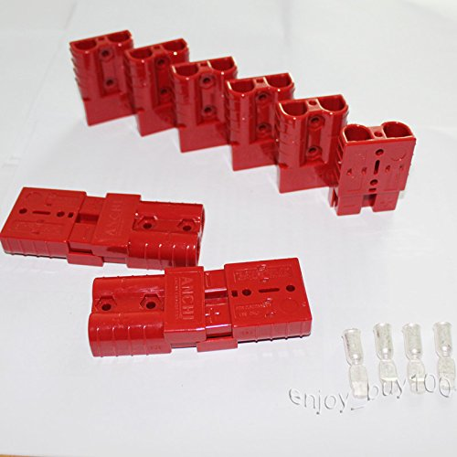 X-Haibei 10 (5 Pair) Battery Quick Connect Plug Kit 50A 6AWG Terminal Connector Disconnect Jumper Cables Red