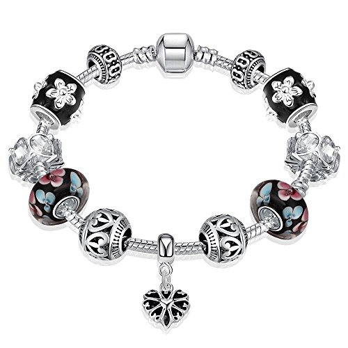Naivo Designer Inspired Crystal Snake Chain Murano Glass Beads Charm Bracelet, Classic Crystal (Heart Cut Murano Glass)