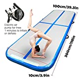 JVSURF 10ft/13ft/20ft Air Track Inflatable Gymnastics, Electric Air Pump Tumbling Mat for Training, Cheerleading at Home, Beach, Park and Water