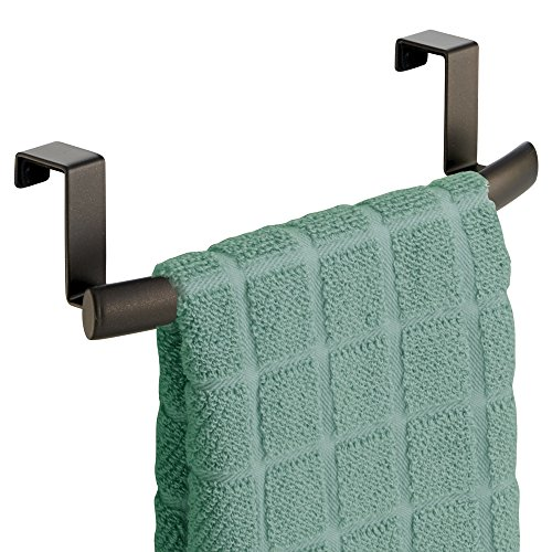 """mDesign Kitchen Storage Over Cabinet Curved Steel Towel Bar Rack - Hang on Inside or Outside of Doors, for Organizing and Hanging Hand, Dish, and Tea Towels - 9.75"""" Wide, Bronze"""