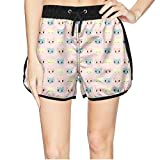 Girls Funny Cute Cats Lover Quick Dry Beach Shorts Swim Trunk