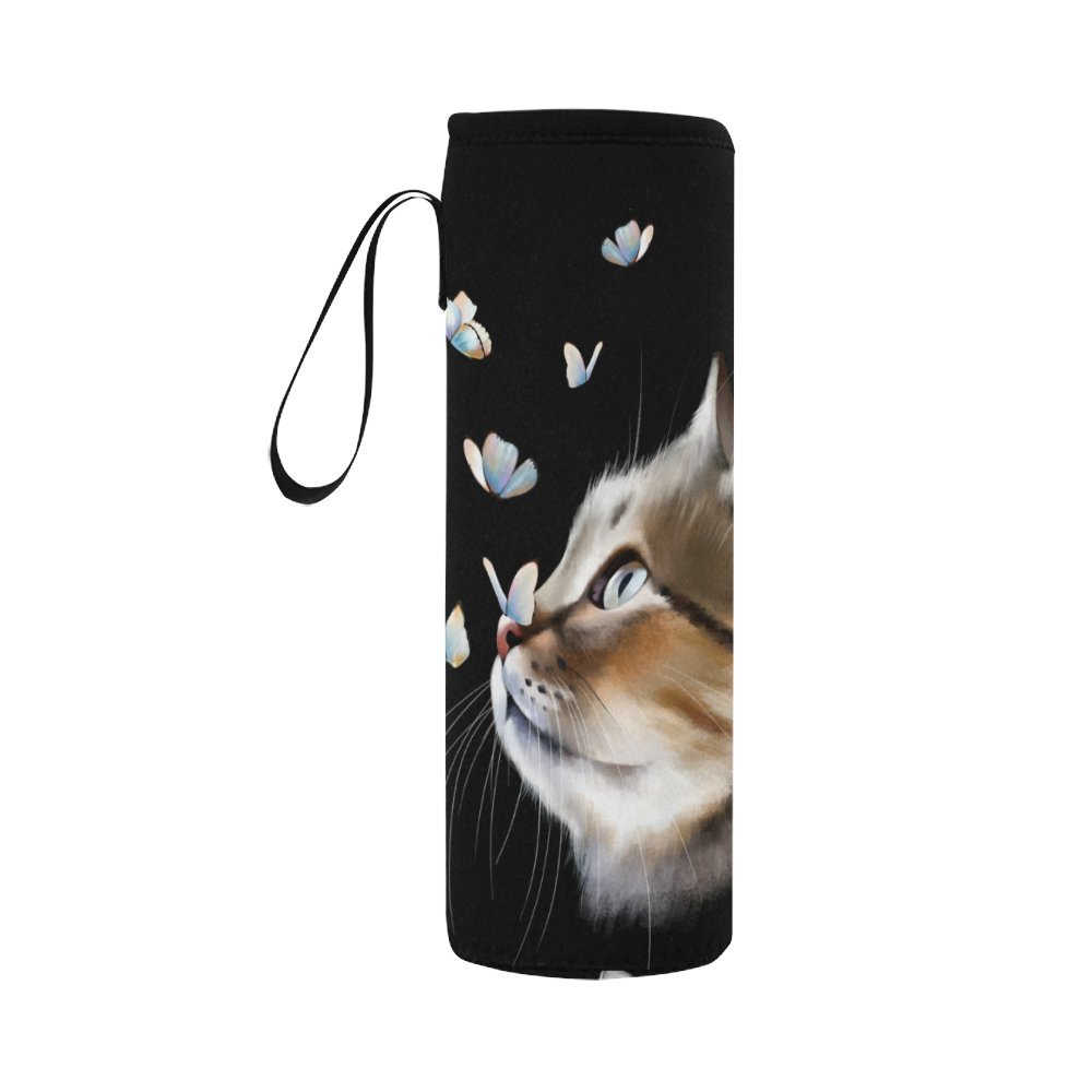 InterestPrint Cat Head Butterfly Neoprene Water Bottle Sleeve Insulated Holder Bag 16.90oz-21.12oz, Cute Kitten Animal Sport Outdoor Protable Cooler Carrier Case Pouch Cover with Handle