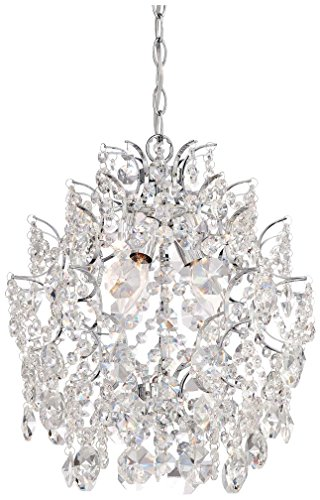 Minka Lavery Crystal Chandelier Pendant Lighting 3150-77, Mini 1 Tier Dining Room, 3 Light, Chrome