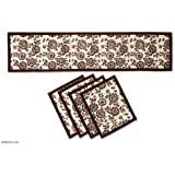 NOVICA Brown Natural Fiber Floral Table Runner and Placemats, 'Brown Blossom Boogie' (Set for 4)