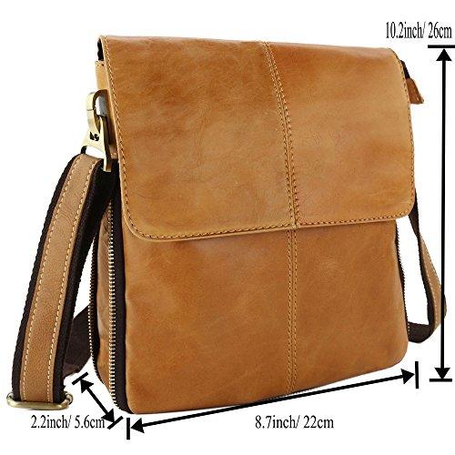 stepack marca piel auténtica bolso de mano moda bolsa de mensajero bolso de hombro para hombres, café marrón
