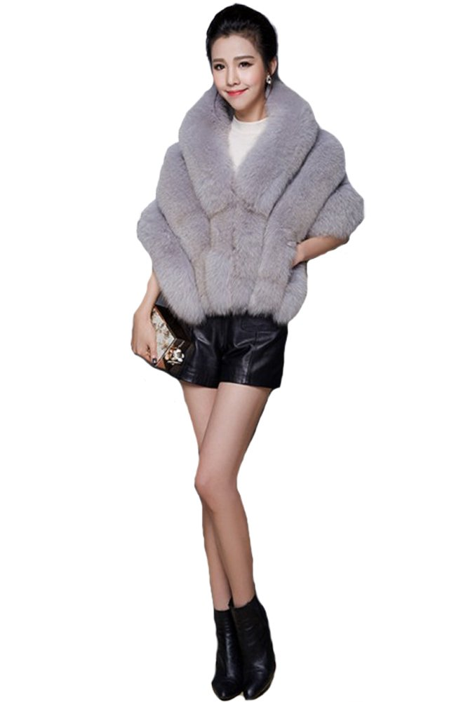 Queenshiny New Style Luxury Soft Women's 100% Real Fox Fur Cape Shawl-Gray by Queenshiny