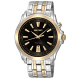 Seiko Men's SNQ120 Silver And Gold Analog with Black Dial Watch, Watch Central