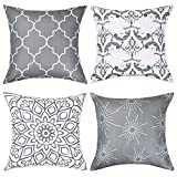 BLEUM CADE Throw Pillow Covers Modern Decorative Throw Pillow Case Cushion Case for Room Bedroom Room Sofa Chair Car, Grey and White, 18 x 18 Inch
