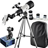 Gosky 70mm AZ Astronomy Telescope 70400 German Technology Refractor Travel Scope - With Tripod and 10mm Eyepiece Smartphone Adapter - Get the World Into Screen
