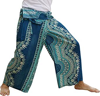 Raan Pah Muang Fisherman Pants Wrap Waist Super Baggy Comfortable Rayon Print, Medium, Dashiki B Teal Blue