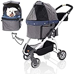 ibiyaya Detachable Pet Carrier Stroller for Dogs and Cats – 3-in-1 Travel Crate + Car Seat + Carriage Stroller in One,