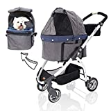 ibiyaya Detachable Pet Carrier Stroller for Dogs and Cats – 3-in-1 Travel Crate + Car Seat + Carriage Stroller in One -
