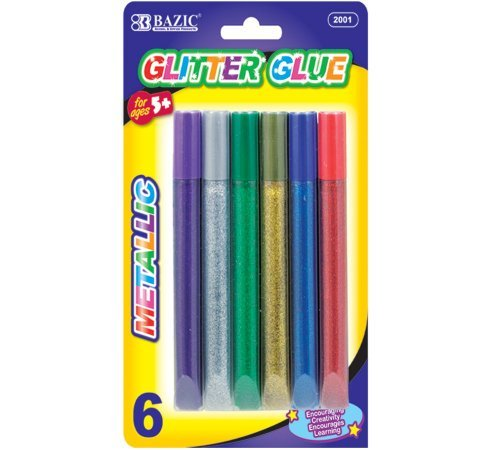 BAZIC Metallic Glitter Glue Pen , 15 mm, 6 Per Pack by Bazic (Glitter Bazic Metallic)