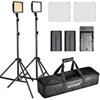 Neewer Double LED Video Light Continuous Lighting Kit Dimmable for Photo Video Shooting,YouTube,Snapchat,Includes:(2)LED Light,(2)Light Stand,(2)Battery,(1)Charger,(2)Diffuser,(2)Filter,(1)Carry Case