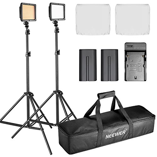 Neewer Double LED Video Light Continuous Lighting Kit Dimmable for Photo Video (Photo Battery Kit)