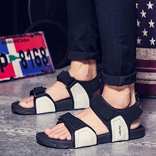 Il nuovo estate Roma sandali Uomini Antiscivolo Uomini Tempo libero Spiaggia sandali pelle sandali tendenza Buco scarpa ,grigio,US=9,UK=8.5,EU=42 2/3,CN=44