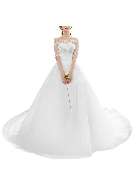 besbomig Mujeres Vestidos de Boda del Applique del Encaje A-Line Vestidos de Novia de la Boda - Vestido de Fiesta Noche Elegante Blanco