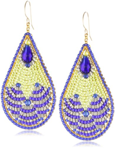 Miguel Ases Blue Created Quartz and Lime Green Teardrop Earrings ()