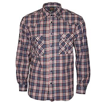 ROCK-IT Apparel® Camisa de Franela de Manga Larga para Hombres Camisa de leñador a Cuadros Fabricada en Europa Pequeño a Cuadros Azul/Rojo/Blanco Small