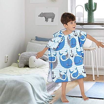 Kapuzenponchos Kinder Badeponcho Kapuzenhandtuche Badetuch Strandtuch Mikrofaser Saugf/ähig Weich Tiermotiv f/ür M/ädchen Jungs Baby Blau Wal