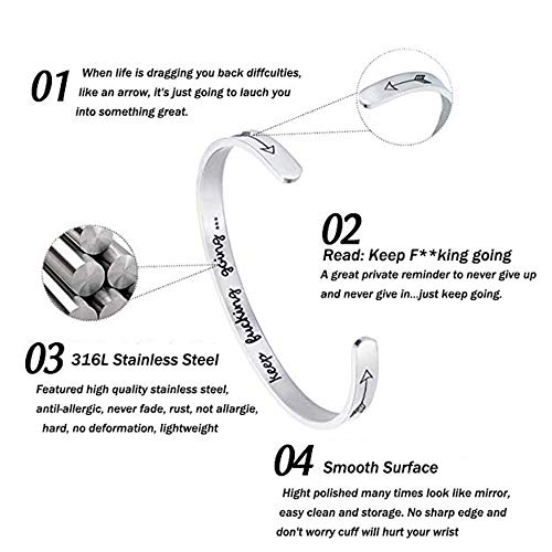 GAGAFEEL Inspirational Bracelet Mantra Cuff Engraved Keep Going Stainless Steel Bangle Encouragement Jewelry Gift for Women Girl Teen Friends (Silver)