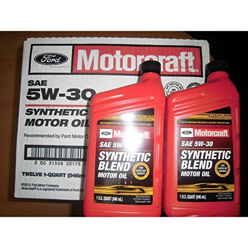 Motorcraft sae 5w30 synthetic blend motor oil 12 quart case for Case of motor oil prices