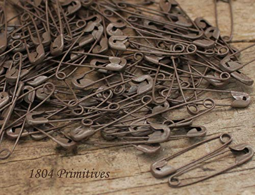 Primitive & Country Style 144 Rusty Tin Look 1-1/8'' Safety Pins ~ Primitive Crafts Rustic Home Decor ()