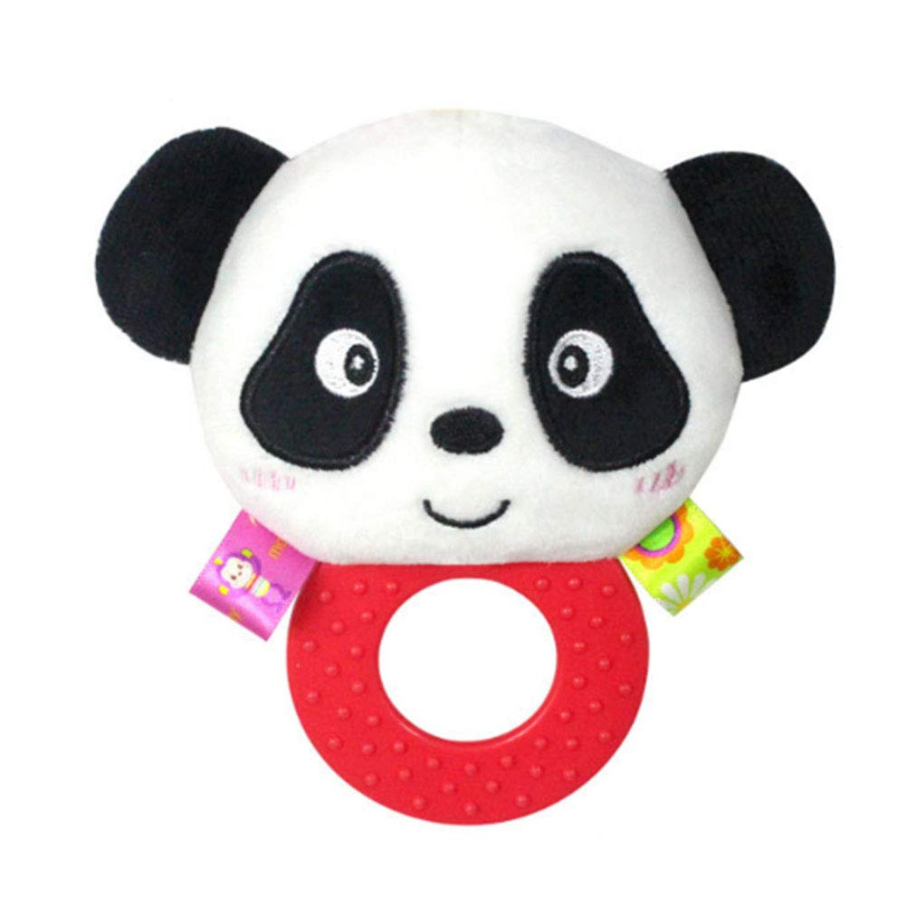 mxdmai Baby Rassel Plüsch Spielzeug pädagogisches Baby-Spielzeug Interactiver Stofftier für Kleinkinder Baby Jungen und Mädchen (Panda)