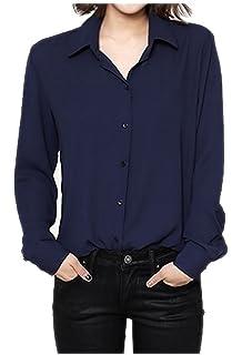 eb00652f177 ARJOSA Women s Chiffon Long Sleeve Button Down Casual Shirt Blouse Top