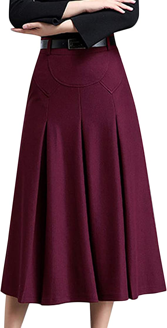 1930s Style Skirts : Midi Skirts, Tea Length, Pleated Tanming Womens Winter High Waist A-Line Pleated Wool Long Skirt with Belt Loops $39.99 AT vintagedancer.com