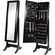 Best Choice Products Black Mirrored Jewelry Cabinet Armoire W Stand Mirror Rings, Necklaces, Bracelets