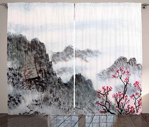 Asian Chinese Painting - Ambesonne Asian Curtains by, Traditional Chinese Painting Landscape Sakura Cherry Tree Cloudy Mountains, Living Room Bedroom Window Drapes 2 Panel Set, 108W X 96L Inches, Seal Brown White Pink