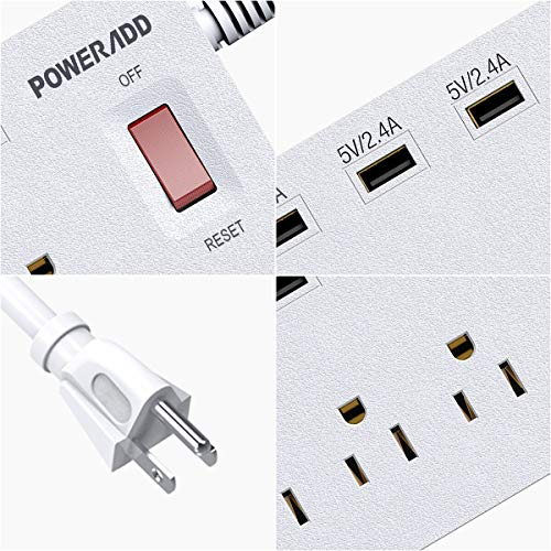 POWERADD Power Strip Surge Protector 6 Outlets  6 USB Charging Ports 6ft Heavy Duty Extension Cord