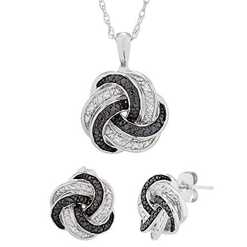 "Brilliant Designers 1/10 CTTW White & Black Diamond (IJ/I2) Love Knot Box Set with 18"" Silver Chain"
