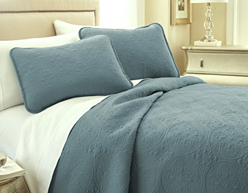 Southshore Fine Linens VILANO Springs - Classic Quilt Set, Teal , King / California (California King Size Quilts)