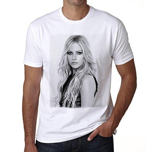 Avril Lavigne Men's T-shirt Celebrity Star ONE IN THE CITY - White, S