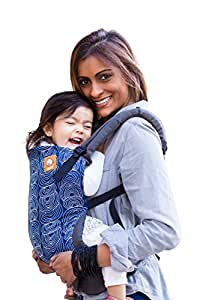 Baby Tula Multi-Position, Ergonomic Toddler Carrier, Front and Back Carry for 25 – 60 pounds – Ripple (Blue with White Circles)