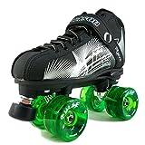 NEW Atom Jackson Rave Outdoor Roller Skate - Available in 5 Vibrant Color Options - Free Devaskation Bracelet - Black/Silver Skate - Green Pulse Wheels - Size 11