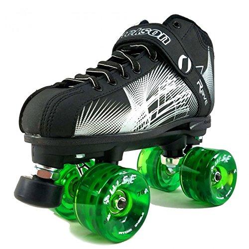 ATOM New Jackson Rave Outdoor Roller Skate - Available in 5 Vibrant Color Options - Free Devaskation Bracelet - Black/Silver Skate - Green Pulse Wheels - Size 12 ()