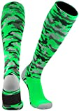 TCK Sports Elite Performance Over The Calf Camo Socks (Neon Green Camo, X-Large)