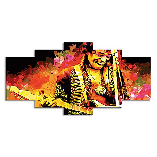 OJKYK Psychedelic Jimi Hendrix Wall Art Prints on Canvas Musical Pictures 5 Panel Abstract Paintings Modern Home Decor for Living Room Bedroom Artwork,B,20x30x2+20x40x2+20x50x1