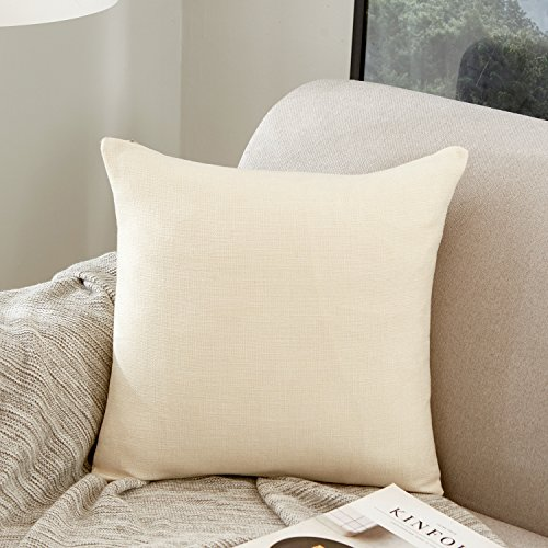 MERNETTE Cotton Linen Blend Decorative Square Throw Pillow Cover Cushion Covers Pillowcase, Home Decor Decorations for Sofa Couch Bed Chair 24x24 Inch/60x60 cm (Cream)