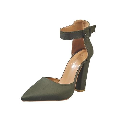 21c47ee0b7f7 Elevin(TM) 2018Fashion Women Buckle Strap Ladies Ankle High Heels Block  Party Singel Shoes