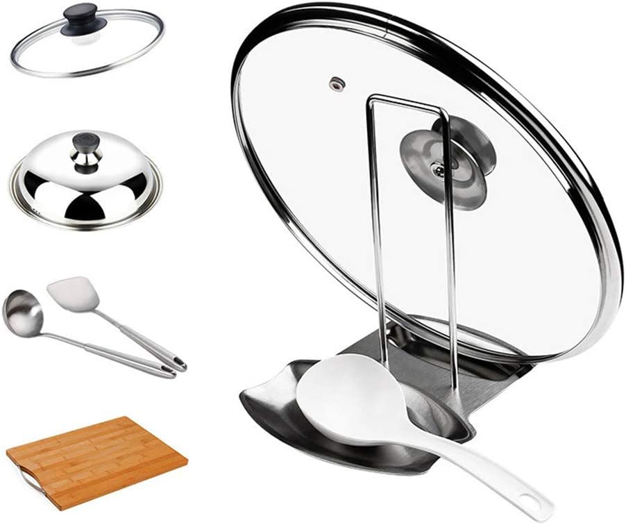 ECHI 2 in 1 Progressive Lid and Spoon Rest,Multifunctional Lid and Spoon Holder, Food-Grade Thick Stainless Steel