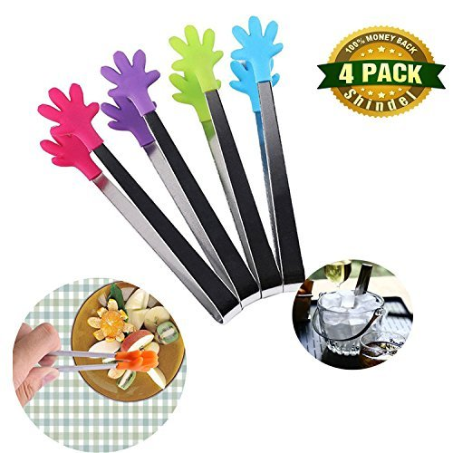 (Shindel Food Tong, 4-Piece Set, 5-inch Hand-Shape Silicone Ice Tong)