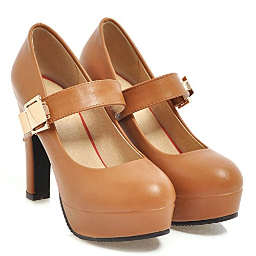 zapatos block mujer Zapatillas tacón marrón Coolcept aRI1S1Y