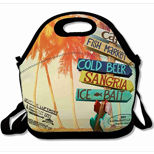 Ahawoso Reusable Insulated Lunch Tote Bag Summer Style Palm Trees At Tropical Postcard Print 10X11 Zippered Neoprene School Picnic Gourmet Lunchbox